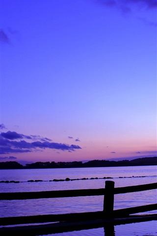 iPhone Wallpaper Japan, sea, fence, evening, sunset, blue, lilac sky