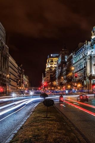 iPhone Wallpaper Madrid, Spain, city, night, buildings, road, lights