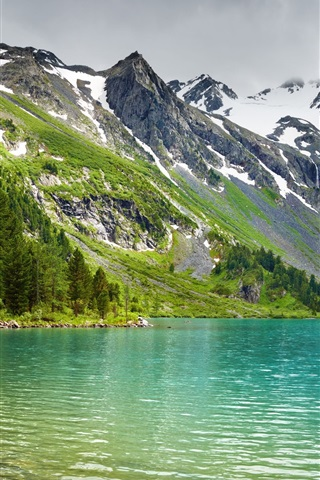iPhone Wallpaper Mountains, lake, forest, peaks, snow, nature scenery