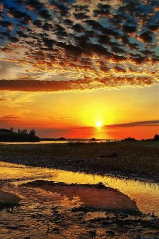iPhone Wallpaper Nature, clouds, river, sun, sunrise