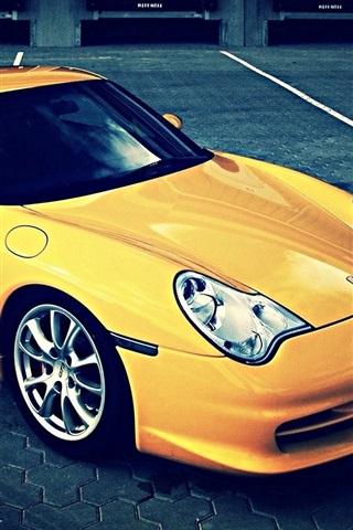 iPhone Wallpaper Porsche 911 yellow supercar