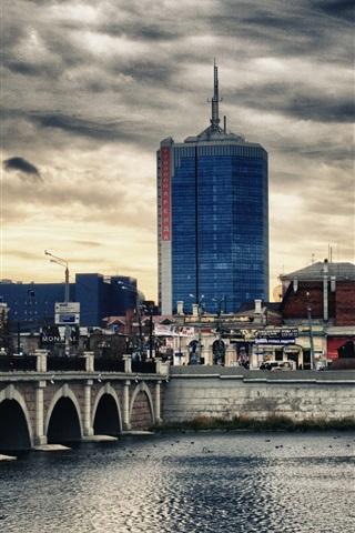 iPhone Wallpaper Russia, the Urals, Chelyabinsk city, bridge, river, buildings