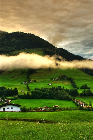 iPhone Wallpaper Spring landscape, grass, trees, green, mountains, clouds, houses
