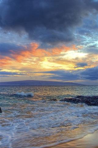iPhone Wallpaper Sunset, Secret Beach, Makena, Maui, Hawaii, waves, clouds
