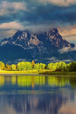 iPhone Wallpaper USA, Wyoming, Grand Teton National Park, mountains, water, forest, morning