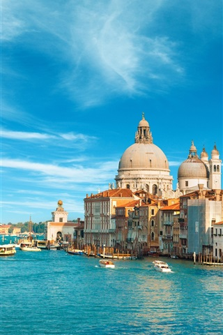 iPhone Wallpaper Venice, Italy, city, buildings, sea, boat, canal, sky, clouds