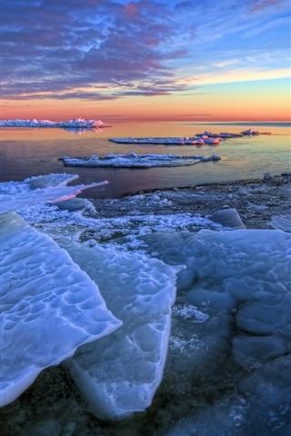 iPhone Wallpaper Winter, sea ice, morning, sunrise, blue