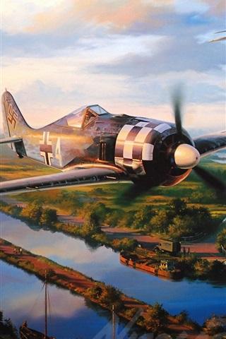 iPhone Wallpaper Aircraft, war, dogfight, art drawing