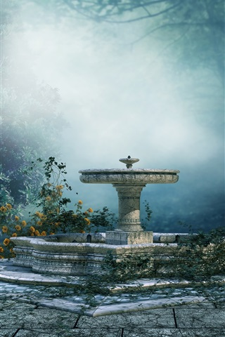 iPhone Wallpaper Art landscape, mood, park, trees, fog, fountain, flowers