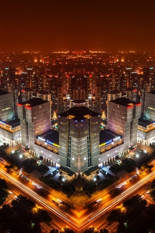 iPhone Wallpaper Beijing, China, night city skyline, buildings, lights