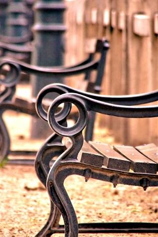 iPhone Wallpaper Bench, fence, railing, wood, blur
