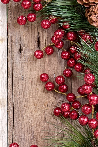 iPhone Wallpaper Branch, pine cones, red balls decoration, Christmas, New Year