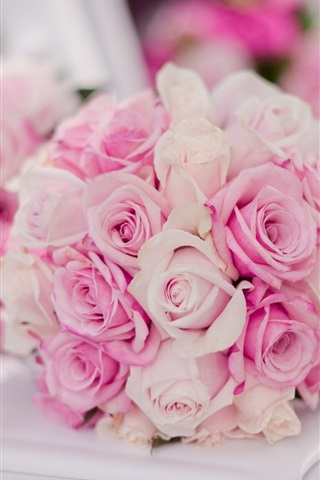 iPhone Wallpaper Bridal bouquet, pink roses