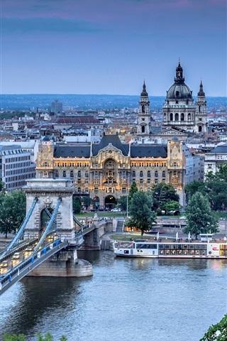 iPhone Wallpaper Budapest, Szechenyi Chain Bridge, Danube, river, city, architecture