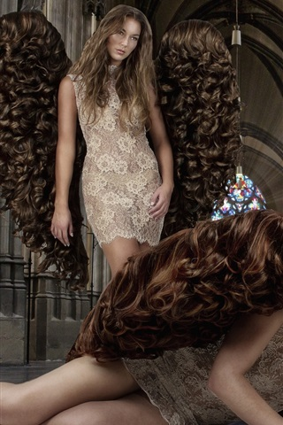 iPhone Wallpaper Creative design, angels, girls, hair wings
