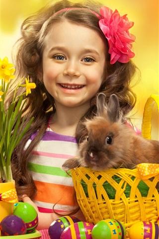 iPhone Wallpaper Easter eggs, cute girl, rabbit, flowers