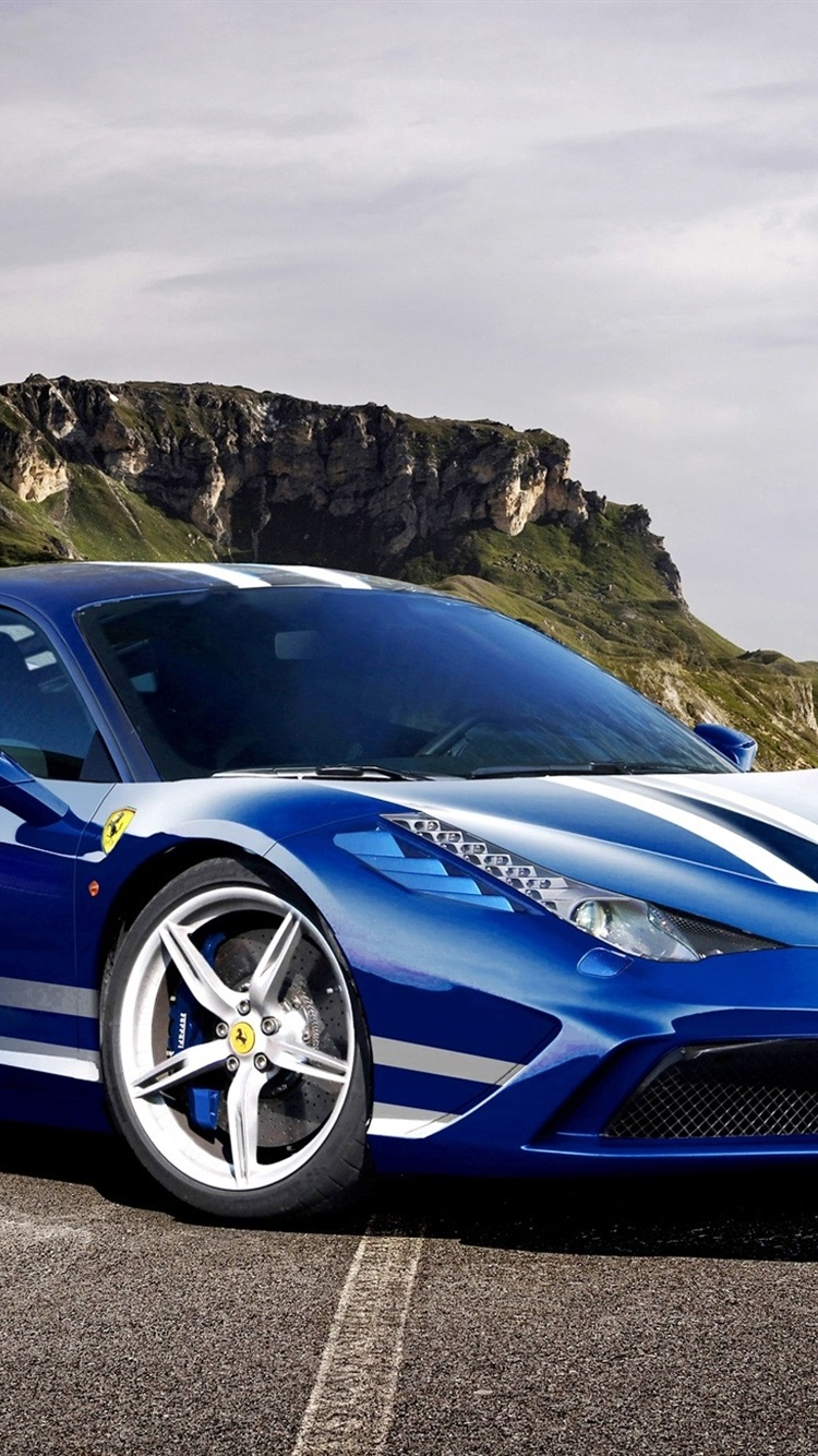 Ferrari 458 Speciale Italia Blue Supercar 750x1334 Iphone 8 7 6 6s Wallpaper Background Picture Image