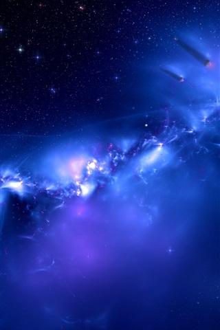 iPhone Papéis de Parede espaço azul galáxia, planetas distantes