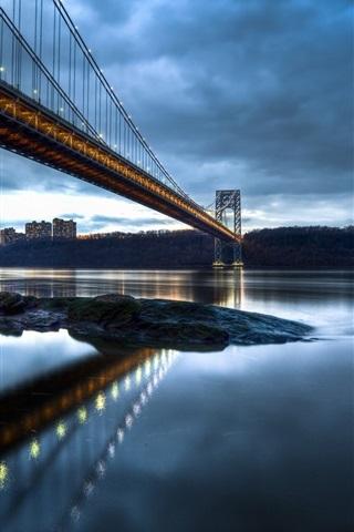 iPhone Wallpaper George Washington Bridge, New Jersey, Manhattan, Hudson River, evening