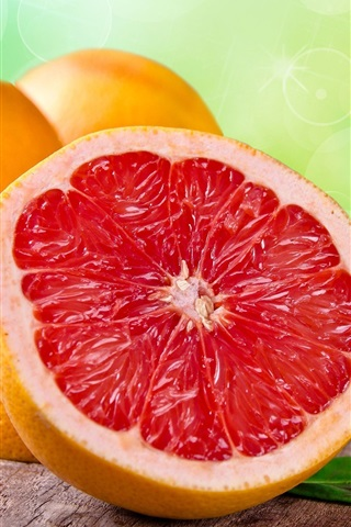 iPhone Wallpaper Grapefruit, fruit, leaves, orange, red