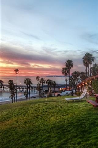 iPhone Wallpaper House, coast, sunset, trees, grass