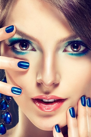 iPhone Wallpaper Makeup fashion girl, blue style