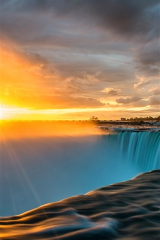 iPhone Wallpaper Niagara Falls, sun rays, sunrise, clouds
