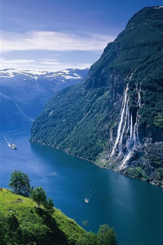 iPhone Wallpaper Norway landscape, fjord, mountains, river, ship, house, waterfalls
