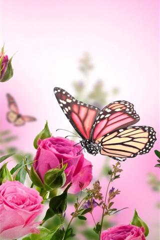 iPhone Wallpaper Pink roses, flowers, butterflies