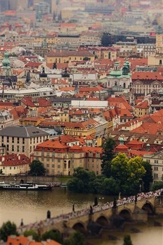 iPhone Wallpaper Prague, Czech Republic, Charles Bridge, Vltava River, buildings