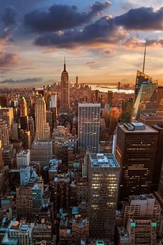iPhone Wallpaper Rockefeller Center, skyscrapers, dawn, metropolis, New York City