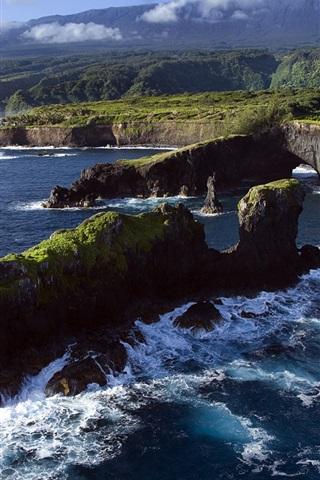 iPhone Wallpaper Rocky coast, Pacific Ocean, Maui, Hawaii