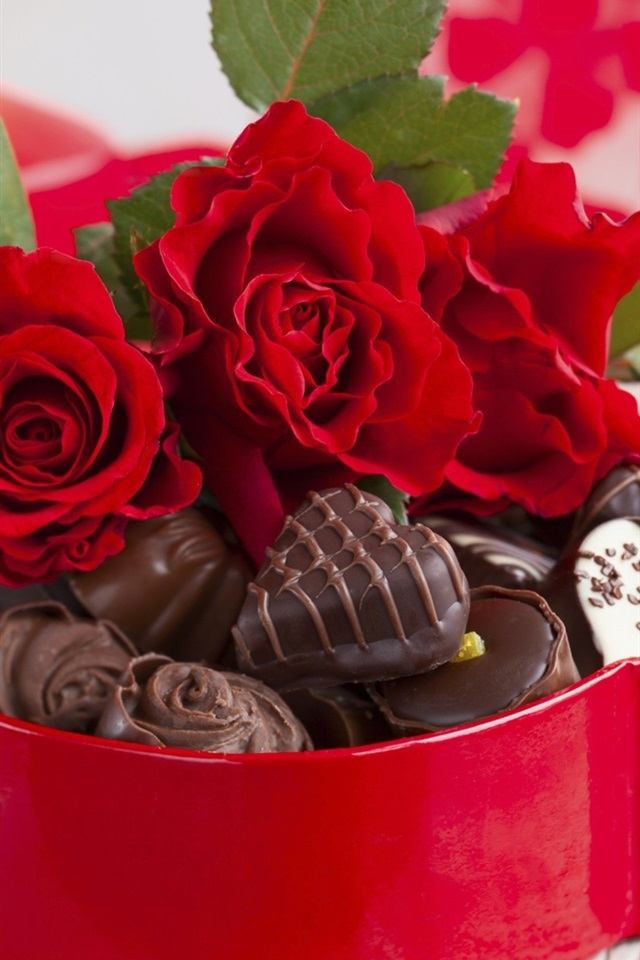 Цветы открытка шоколад, всегда