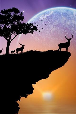 iPhone Wallpaper Silhouette, deer, planet, sky, stars, trees, rock, sunset, creative