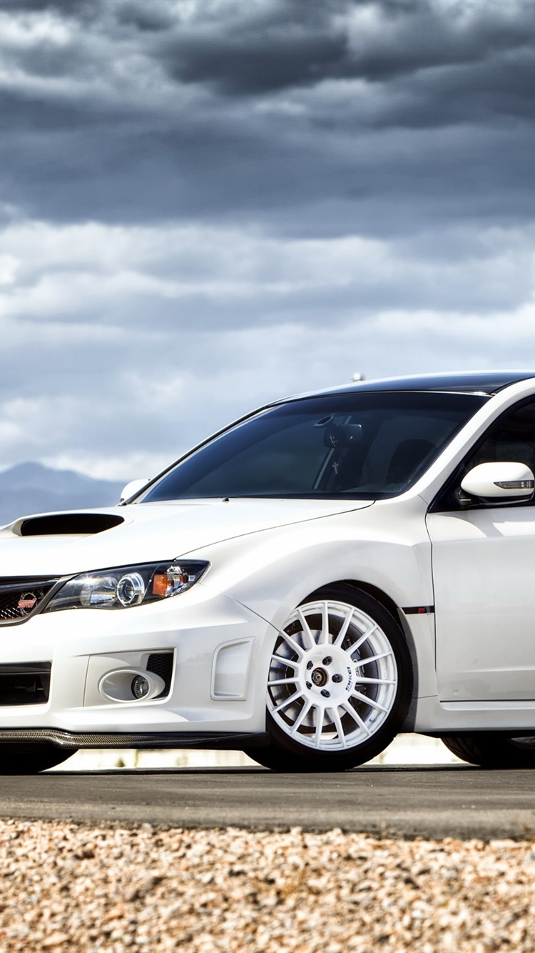 Subaru Impreza Sti White Car 750x1334 Iphone 8 7 6 6s