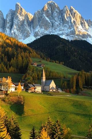 iPhone Wallpaper Switzerland, the Alps, mountains, hills, house, autumn