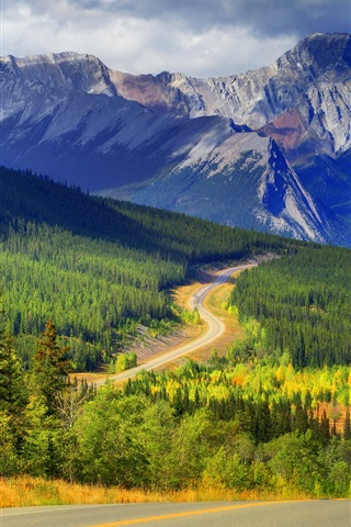 iPhone Wallpaper Abraham lake, Banff, Alberta, Canada, mountains, forest, trees, autumn, road