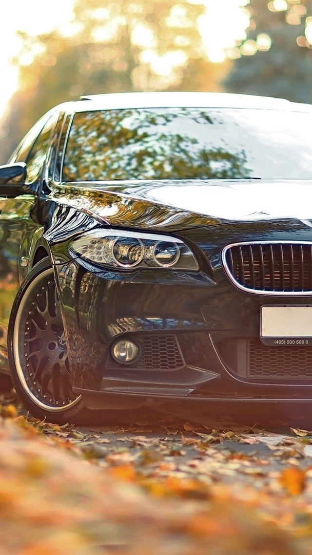 Bmw 550 F10 Black Car In The Autumn 640x1136 Iphone 5 5s 5c Se Wallpaper Background Picture Image