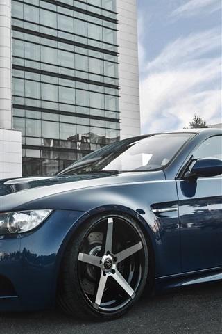 iPhone Wallpaper BMW E92 M3 Deep Concave blue car
