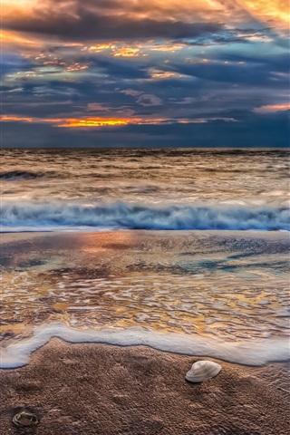 iPhone Wallpaper Beach, sunset, sky, clouds, sand, nature, sea, ocean, waves