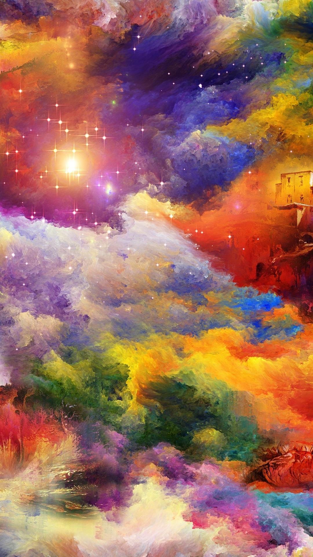 明るい色 ハウス ロック アートの絵画 1080x1920 Iphone 8 7 6 6s