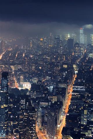 iPhone Wallpaper City, New York, metropolis, skyscrapers, night lights