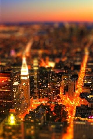 iPhone Wallpaper City, tilt-shift photography, lights, sky, buildings, night