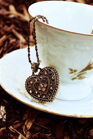 iPhone Wallpaper Cup, saucer, heart pendant, chain, pendant, autumn