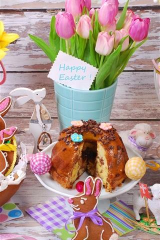 iPhone Wallpaper Easter eggs, flowers, tulips, cookies, bread