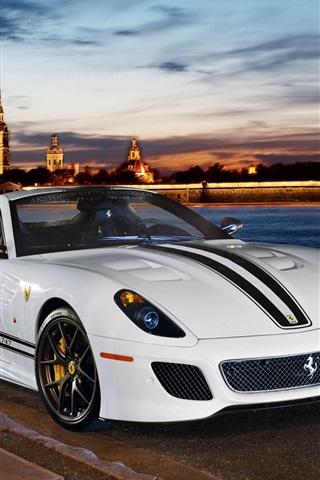 iPhone Wallpaper Ferrari 599 GTO 2-seater white sports car