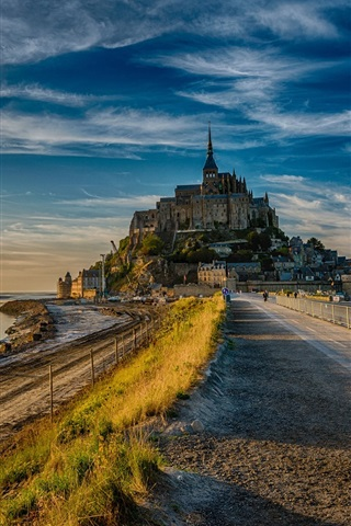 iPhone Wallpaper France, Mont Saint-Michel, road, dusk
