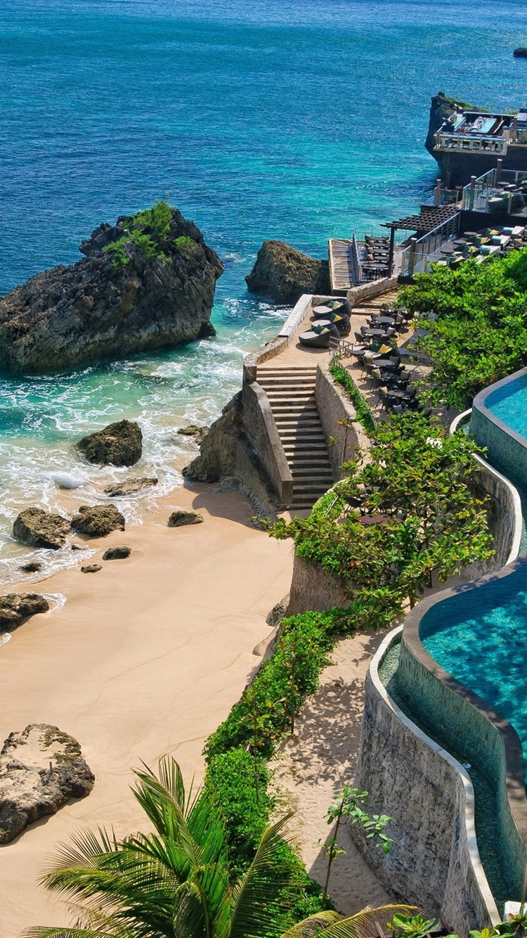 Indonesia Bali Coast Beach Stones Pools 750x1334 Iphone