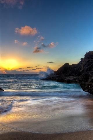 iPhone Wallpaper Ocean, coast, sea, waves, stones, sunrise