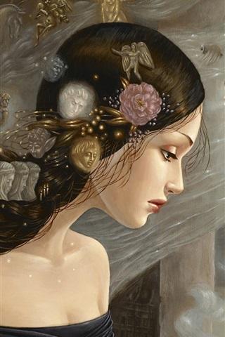 iPhone Wallpaper Painting girl, flowers, beautiful